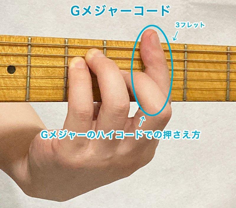 ギターのGメジャーコードのバレーコードの押さえ方