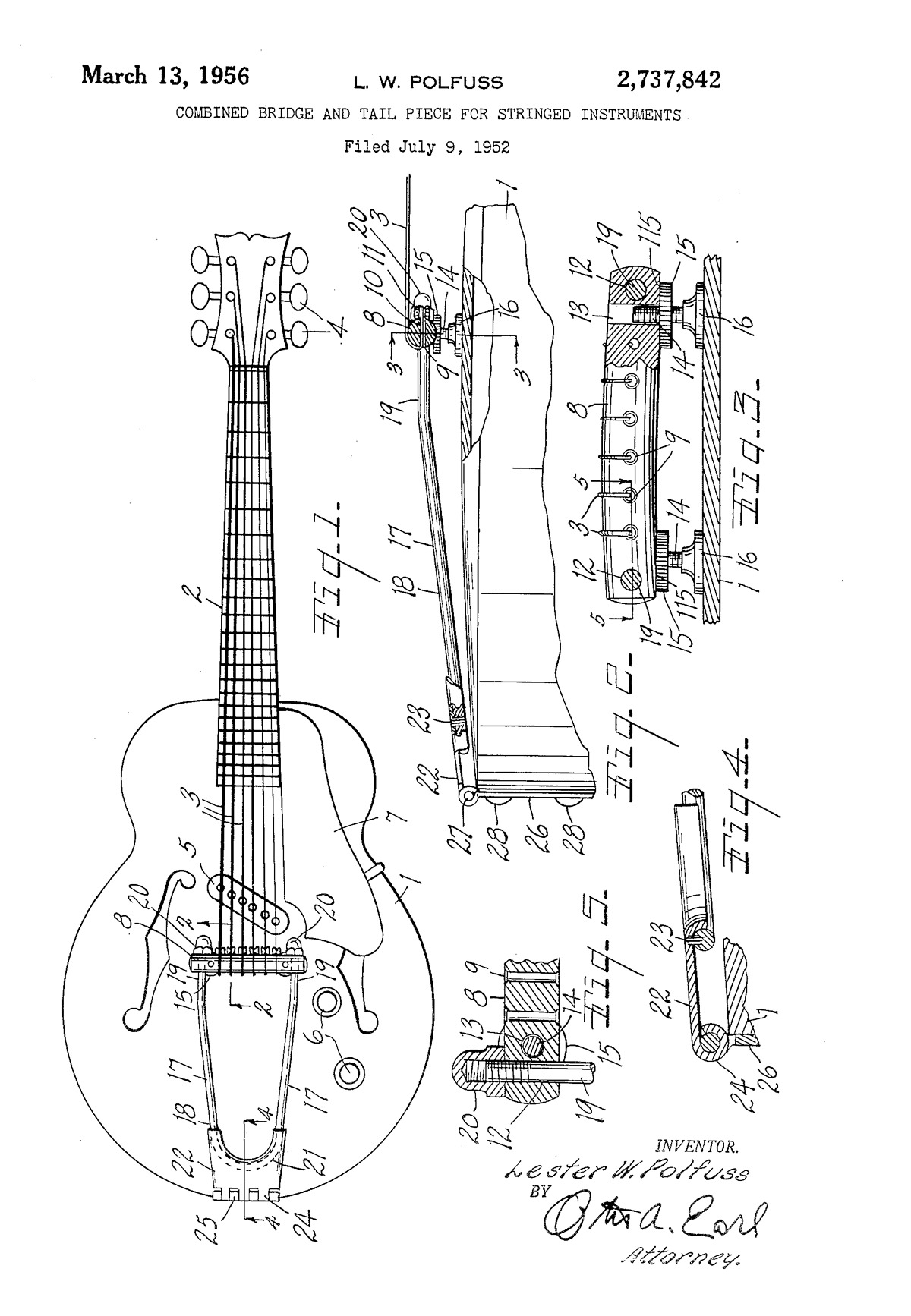 Combined bridge and tail piece for stringed instruments
