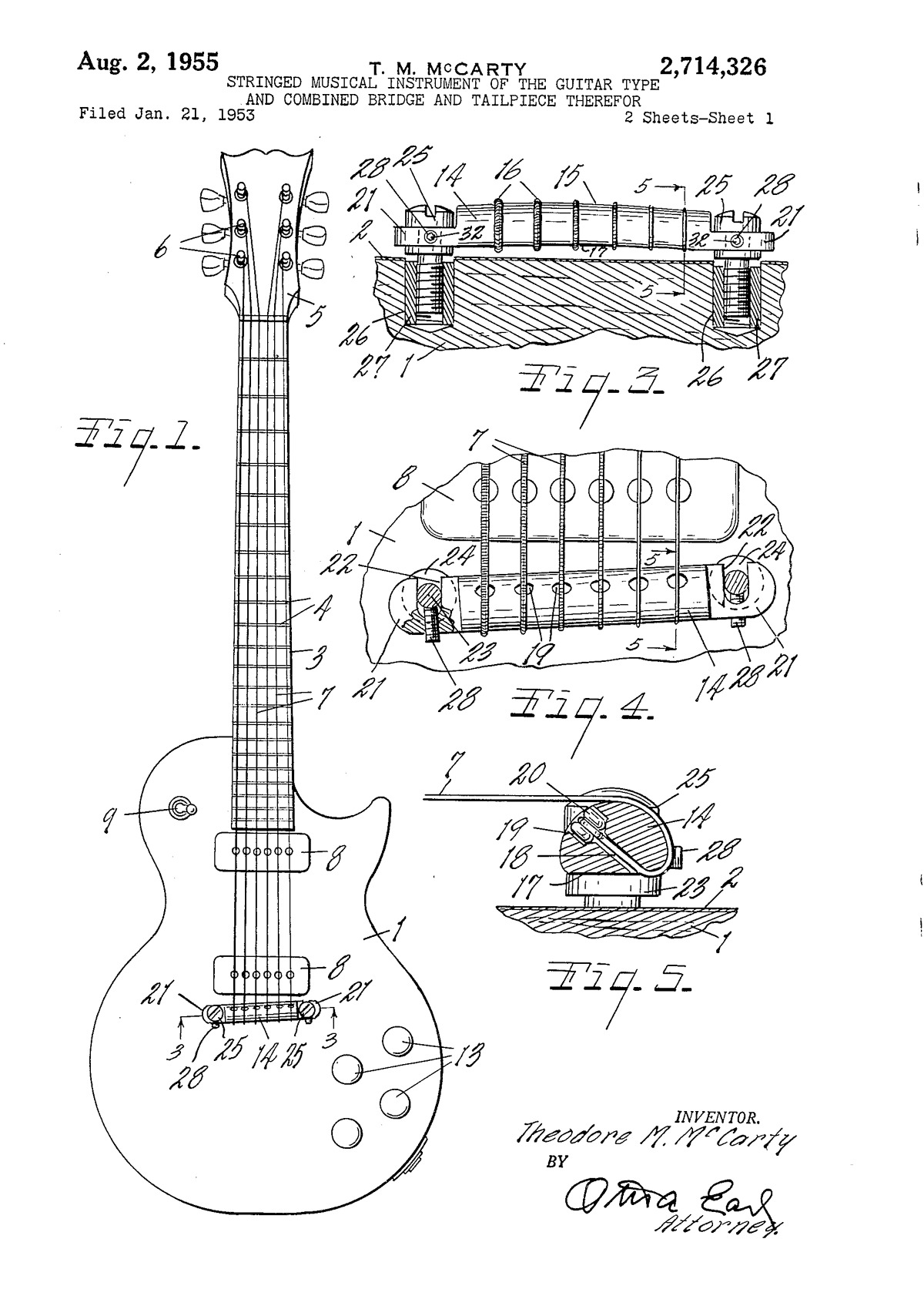 Stringed musical instrument of the guitar type and combined bridge and tailpiece therefor
